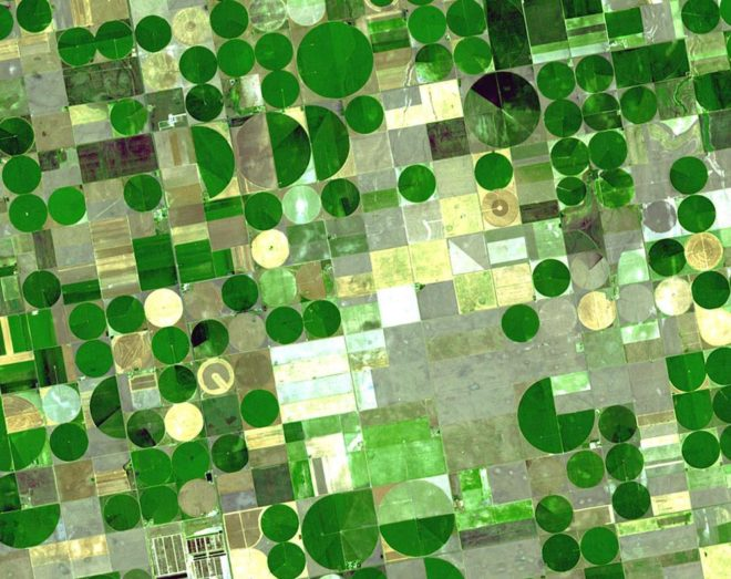 Circles containing crops are superimposed on squares containing dry, unplanted or fallow land.