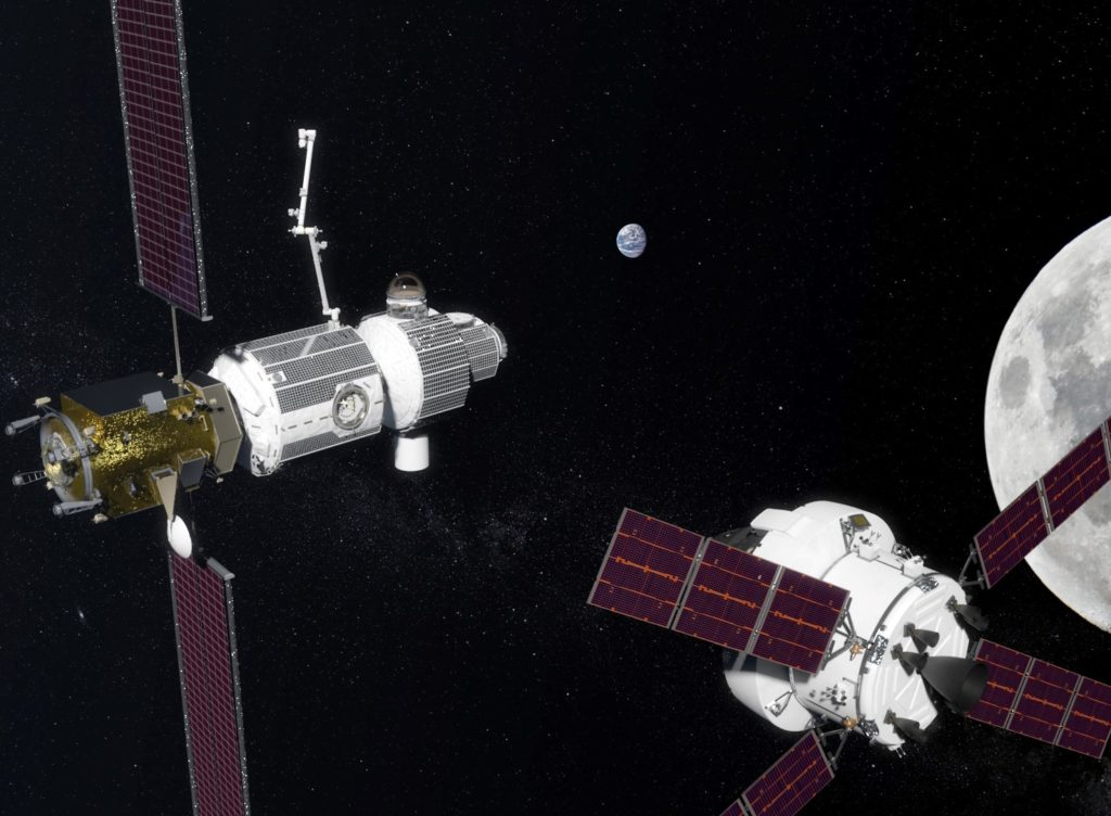 Orion capsule approaching Gateway
