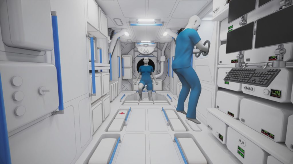 Long, box-like interior with astronauts