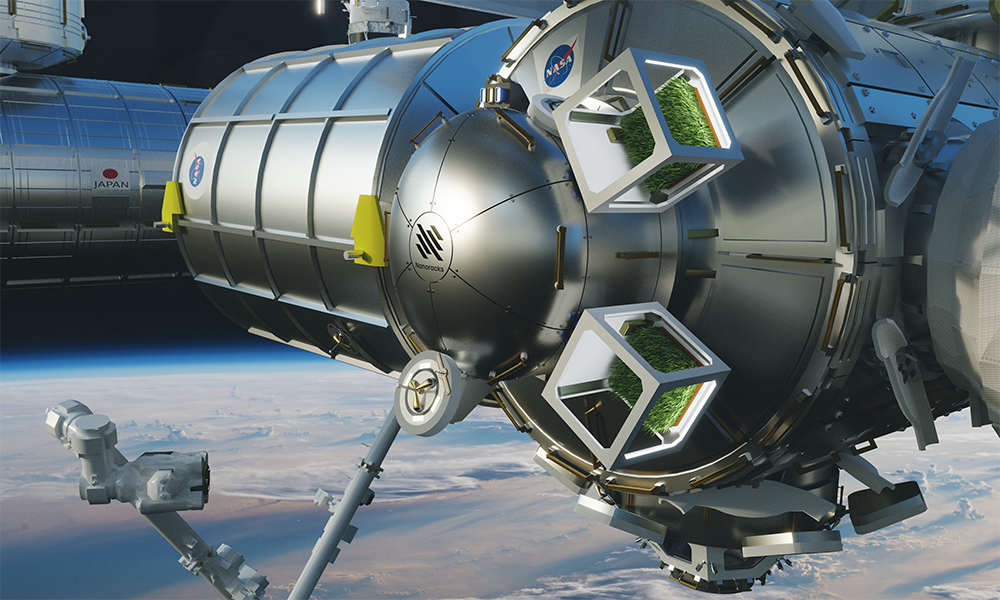 Spacestation module with cube greenhouses attached